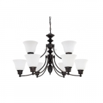 60W Empire Series Chandelier w/ Frosted White Glass, 9 Lights, Mahogany Bronze