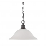 100W 16-in Hanging Pendant Fixture w/ Frosted White Glass, 1 Light, Mahogany Bronze