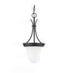 "10"" 100W Pendant Light w/ Frosted Glass, Mahogany Bronze"