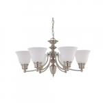60W Empire Series Chandelier w/ Frosted White Glass, 6 Lights, Brushed Nickel