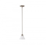 100W Empire LED Mini Pendant w/ Frosted White Glass, 1 Light, Brushed Nickel