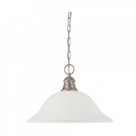 100W 16-in Hanging Pendant Fixture w/ Frosted White Glass, 1 Light, Brushed Nickel Finish