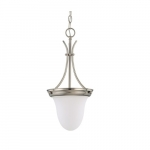 "10"" 100W Pendant Light w/ Frosted White Glass, Brushed Nickel"