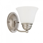 """7"""" 100W Empire Series Vanity Light w/ Frosted White Glass, Brushed Nickel"""