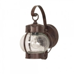 60W Onion Outdoor Wall Fixture w/ Clear Seed Glass, 1 Light, Old Bronze