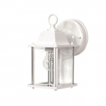 60W Cube Wall Lantern w/ Clear Beveled Glass, White