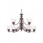 60W Empire Series Chandelier w/ Alabaster Glass, 2 Tier, 9 Lights, Old Bronze