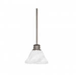 100W Empire LED Mini Pendant w/ Alabaster Glass, 1 Light, Brushed Nickel