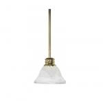 100W Empire LED Mini Pendant w/ Alabaster Glass, 1 Light, Polished Brass