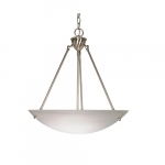 "23"" 60W Pendant Light w/ Alabaster Glass, 3 Lights, Brushed Nickel"
