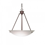 "23"" 60W Pendant Light w/ Alabaster Glass, 3 Lights, Old Bronze"