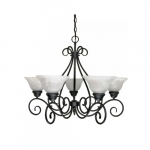 60W Castillo Series Chandelier w/ Alabaster Glass, 5 Lights, Arm Up, Textured Black