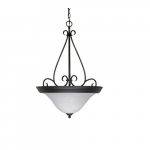 60W Castillo Series Pendant Light w/ Alabaster Glass, 3 Lights, Flat Black