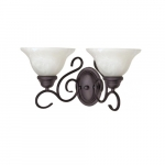60W Castillio LED Vanity w/ Alabaster Swirl Glass, 2 Light, Textured Flat Black