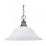 100W 16-in Hanging Pendant Fixture w/ Alabaster Glass, 1 Light, Brushed Nickel