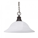 100W 16-in Hanging Pendant Fixture w/ Alabaster Glass, 1 Light, Old Bronze
