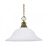 100W 16-in Hanging Pendant Fixture w/ Alabaster Glass, 1 Light, Polished Brass