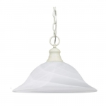 100W 16-in Hanging Pendant Fixture w/ Alabaster Glass, 1 light, Textured White