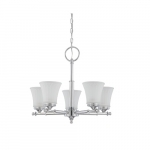 60W Teller Series Chandelier w/ Frosted Etched Glass, 5 Lights, Polished Chrome