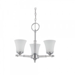 60W Teller Series Chandelier Light w/ Frosted Glass, 3 Lights, Polished Chrome