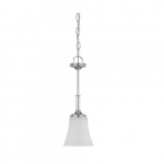 100W Teller LED Mini Pendant w/ Frosted Etched Glass, 1 Light, Polished Chrome