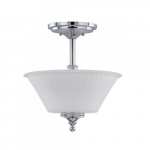 60W Teller Series Semi Flush Ceiling Light w/ Frosted Glass, 2 Lights, Polished Chrome