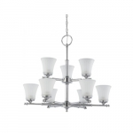 60W Teller Series Chandelier w/ Frosted Glass, 2 Tier, 9 Lights, Polished Chrome