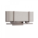 60W Portia Series Wall Sconce w/ Khaki Shade, 2 Lights, Hazel Bronze