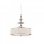 100W Candice Series Pendant Light w/ Pleated White Shades, 3 Lights, Brushed Nickel