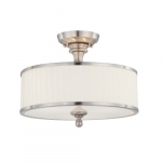 60W Candice Series Semi Flush Ceiling Light w/ White Shade, Brushed Nickel