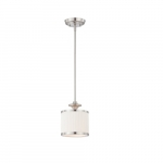 60W Candice Series Mini Pendant Light w/ Pleated White Shade, Brushed Nickel