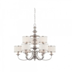 60W Candice Series Chandelier w/ Pleated White Shades, 9 Lights, Brushed Nickel
