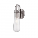 20W Beaker Series Wall Sconce w/ Clear Glass, Brushed Nickel