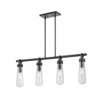 20W Beaker Series Island Pendant Light w/ Clear Glass, 4 Lights, Aged Bronze