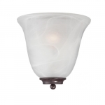 60W Empire LED Wall Sconce w/ Alabaster Glass, 1 Light, Old Bronze