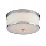 60W Celine Series Flush Mount Ceiling Light w/ Satin Glass, Polished Nickel