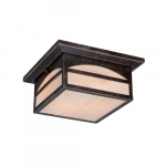60W Canyon Series Flush Mount Ceiling Light w/ Honey Stained Glass, Umber Bronze