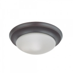 12-in 60W Flush Mount Fixture w/ Frosted White Glass, 1-Light, Mahogany Bronze