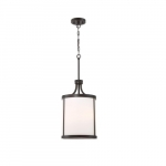 60W Denver Series Pendant Light w/ Satin White Glass, 3 Lights, Mahogany Bronze