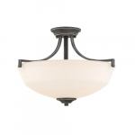 100W Chester Series Semi Flush Ceiling Light w/ White Glass, Iron Black & Brushed Nickel