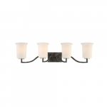100W Chester Series Vanity Light w/ White Glass, 4 Lights, Iron Black & Brushed Nickel