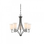 100W Chester Series Chandelier w/ White Glass, 5 Lights, Iron Black & Brushed Nickel