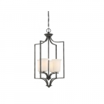 100W Chester Series Foyer Chandelier w/ White Glass, 4 Lights, Iron Black & Nickel