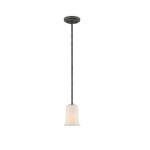 100W Chester LED Mini Pendant w/ White Glass, 1 Light, Iron Black