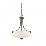 100W Chester Series Pendant Light w/ White Glass, 3 Lights, Iron Black & Brushed Nickel