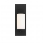 60W Indie Series Small Wall Sconce w/ Seeded Glass, Textured Black