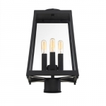 60W Halifax Series Post Light w/ Clear Glass, 4 Lights, Matte Black