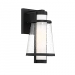 60W Anau Series Wall Lantern w/ Opal and Clear Glass, Matte Black
