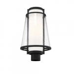 60W Anau Series Large Post Light w/ Opal & Clear Glass, Matte Black