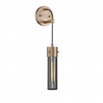 60W Eaves LED Wall Sconce w/ Matte Black Cage, 1 Light, Copper Brushed Brass